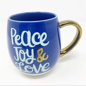 Threshold Peace Joy & Love Blue & Gold Coffee Mug